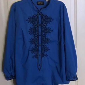 Bob Mackie royal blue blouse
